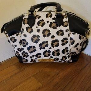 Betsey Johnson black and leopard print satchel